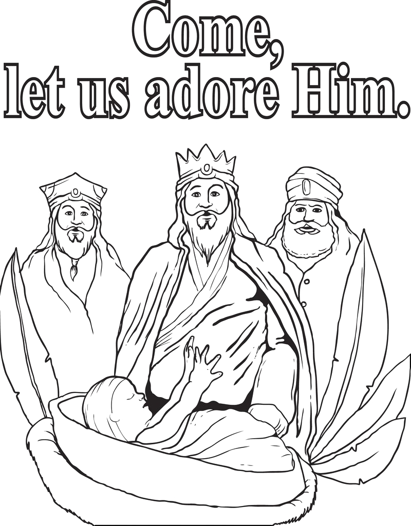 three wise men coloring page a4701