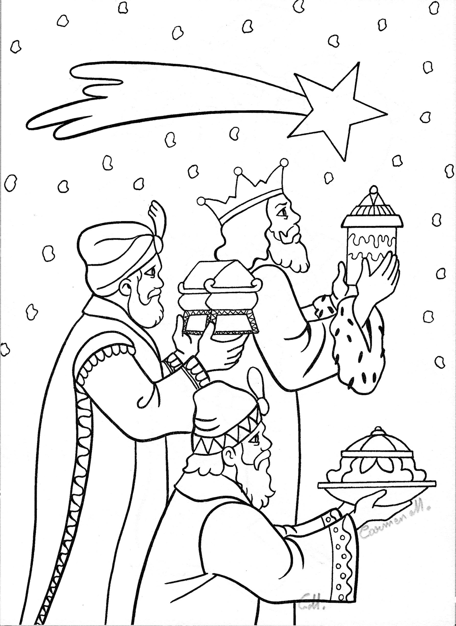 Coloring Pages Of the Three Wise Men Three Wisemen Following Star