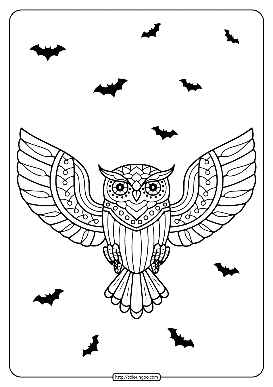 Day Of the Dead Owl Coloring Pages Printable Day Of the Dead Owl Coloring Page
