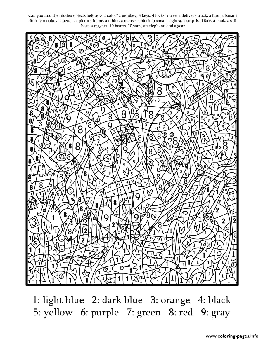 color by number for adults hard difficult printable coloring pages book