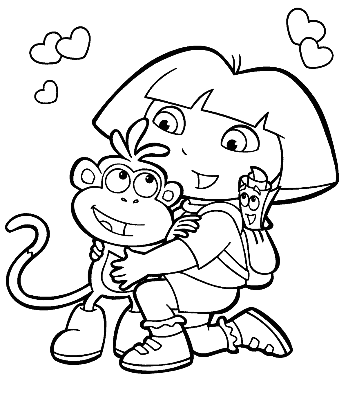 Dora and Boots Coloring Pages to Print Dora and Boots Coloring Pages at Getdrawings