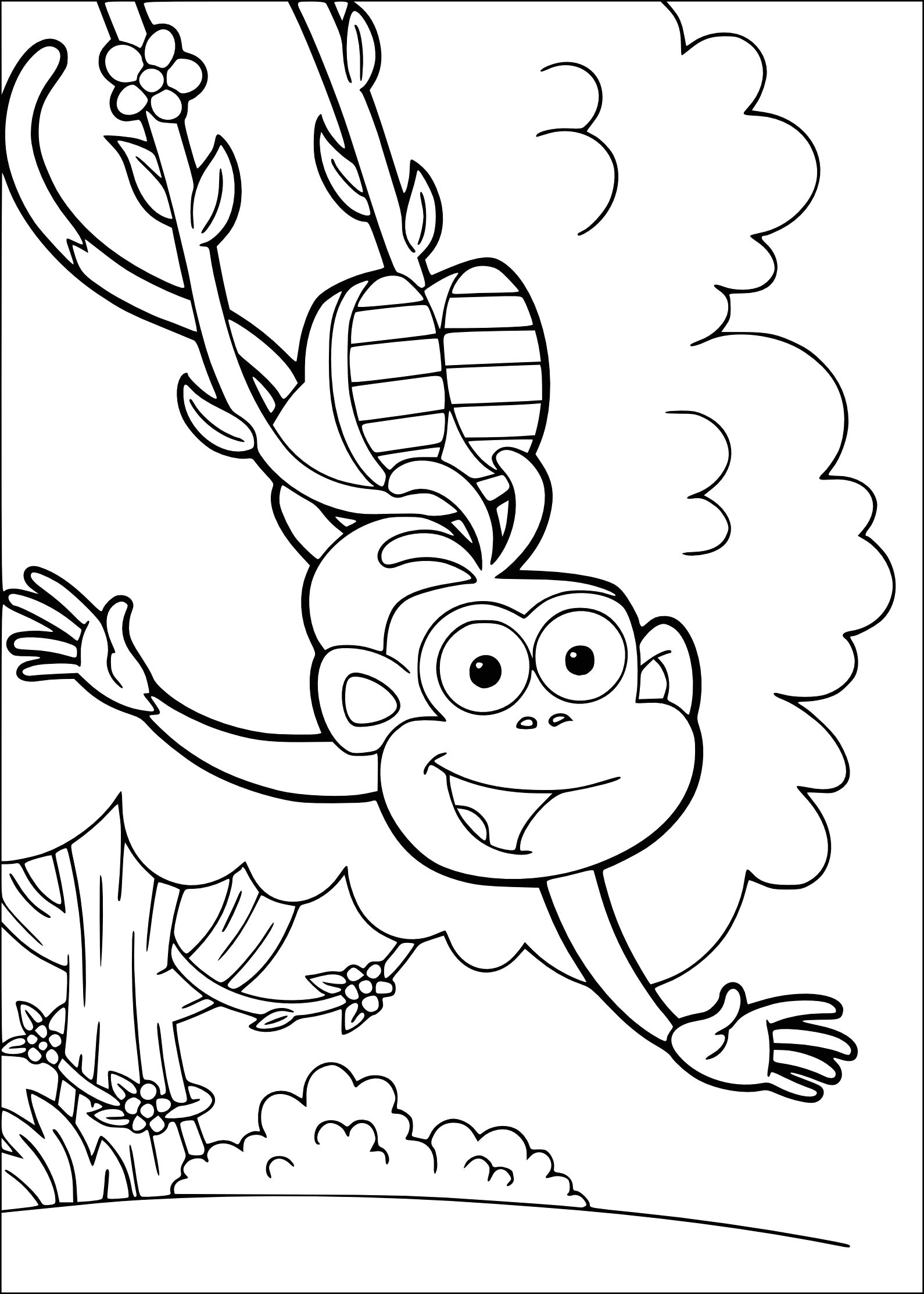 Dora the Explorer and Boots Coloring Pages Boots Dora the Explorer Coloring Page
