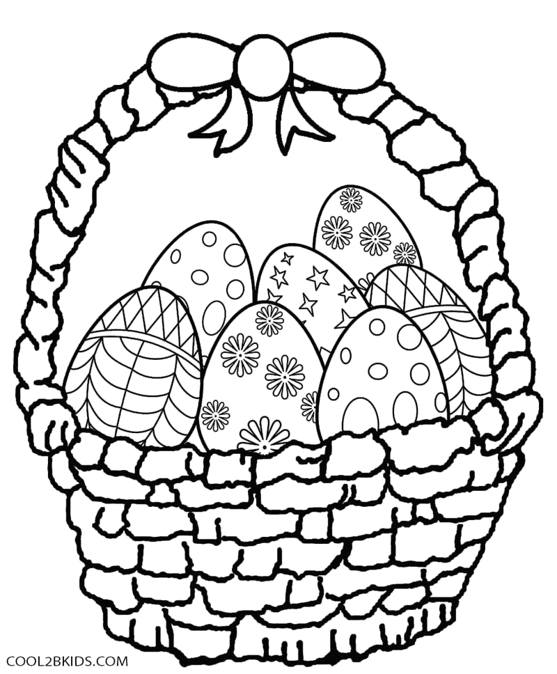 Easter Eggs In A Basket Coloring Pages Printable Easter Egg Coloring Pages for Kids