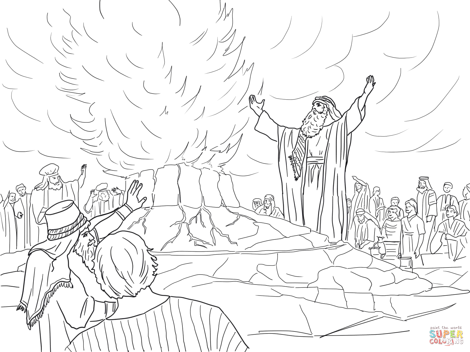 Elijah Called Down Fire From Heaven Coloring Page Elijah Called Down Fire From Heaven Coloring Page