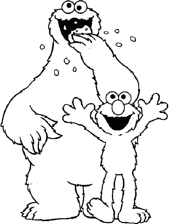 Elmo and Cookie Monster Coloring Pages to Print Cookie Monster and Elmo Coloring Pages Coloring Sky
