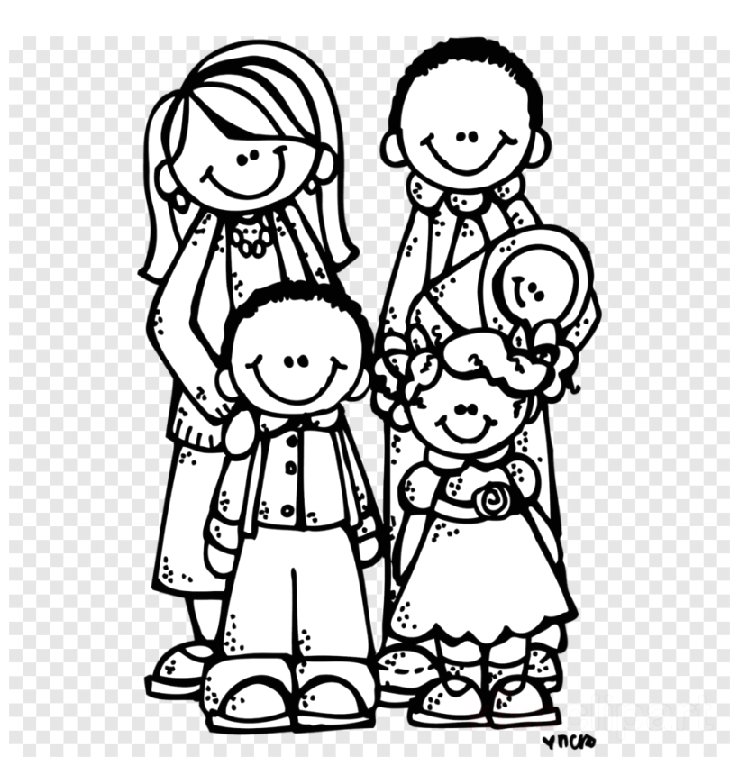 family clipart coloring page