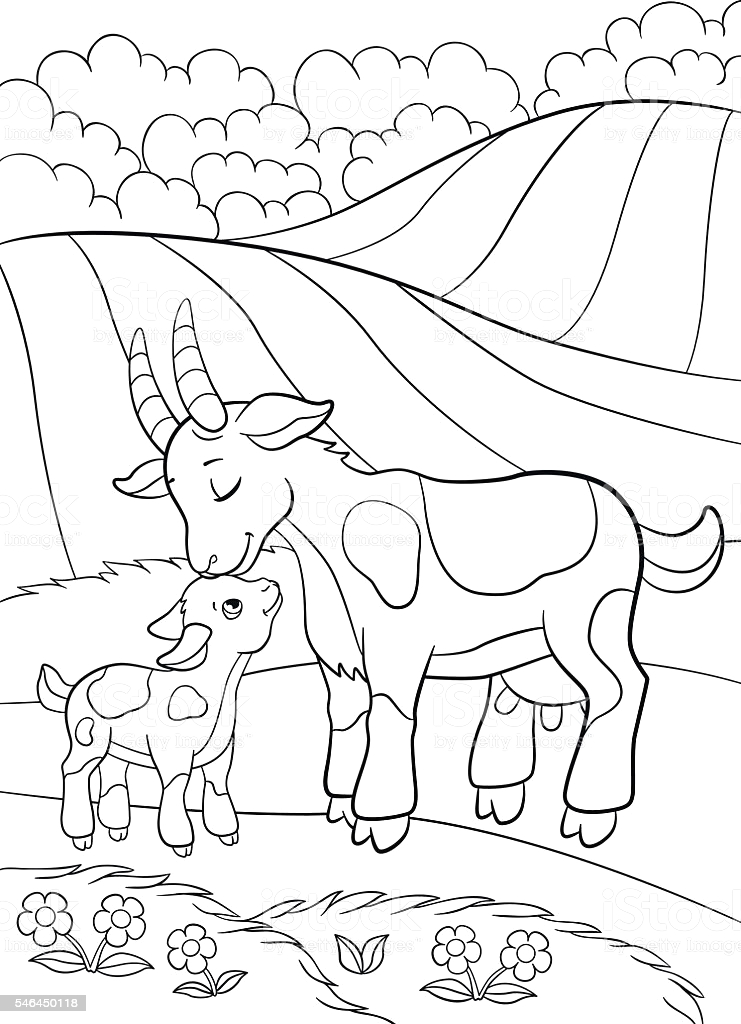 coloring pages farm animals mother goat with her little baby gm