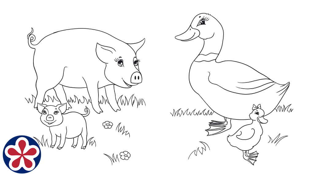 Farm Animals and their Babies Coloring Pages Farm Animals and their Babies Coloring Pages