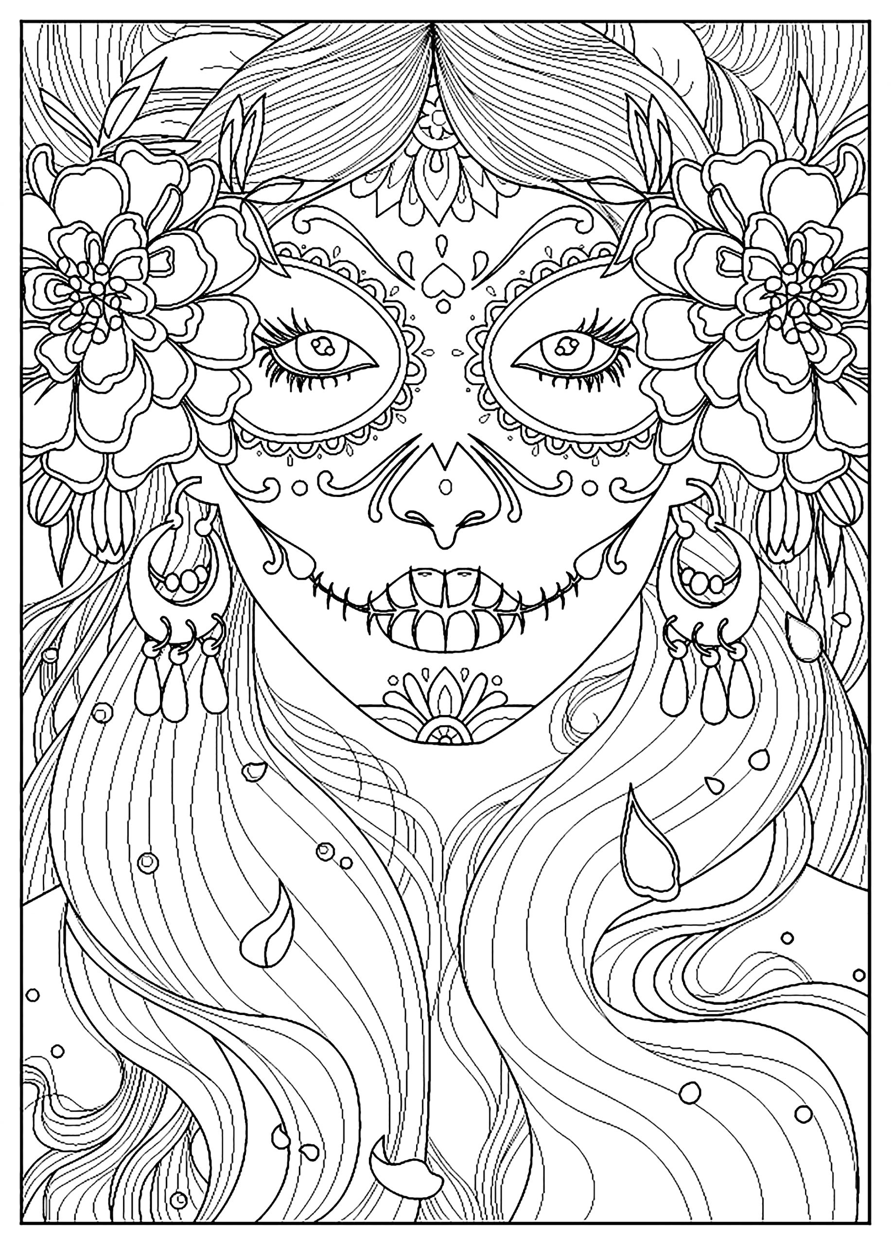 Female Dia De Los Muertos Coloring Pages Day Of the Dead Fishes Coloring Pages for Adults Adult