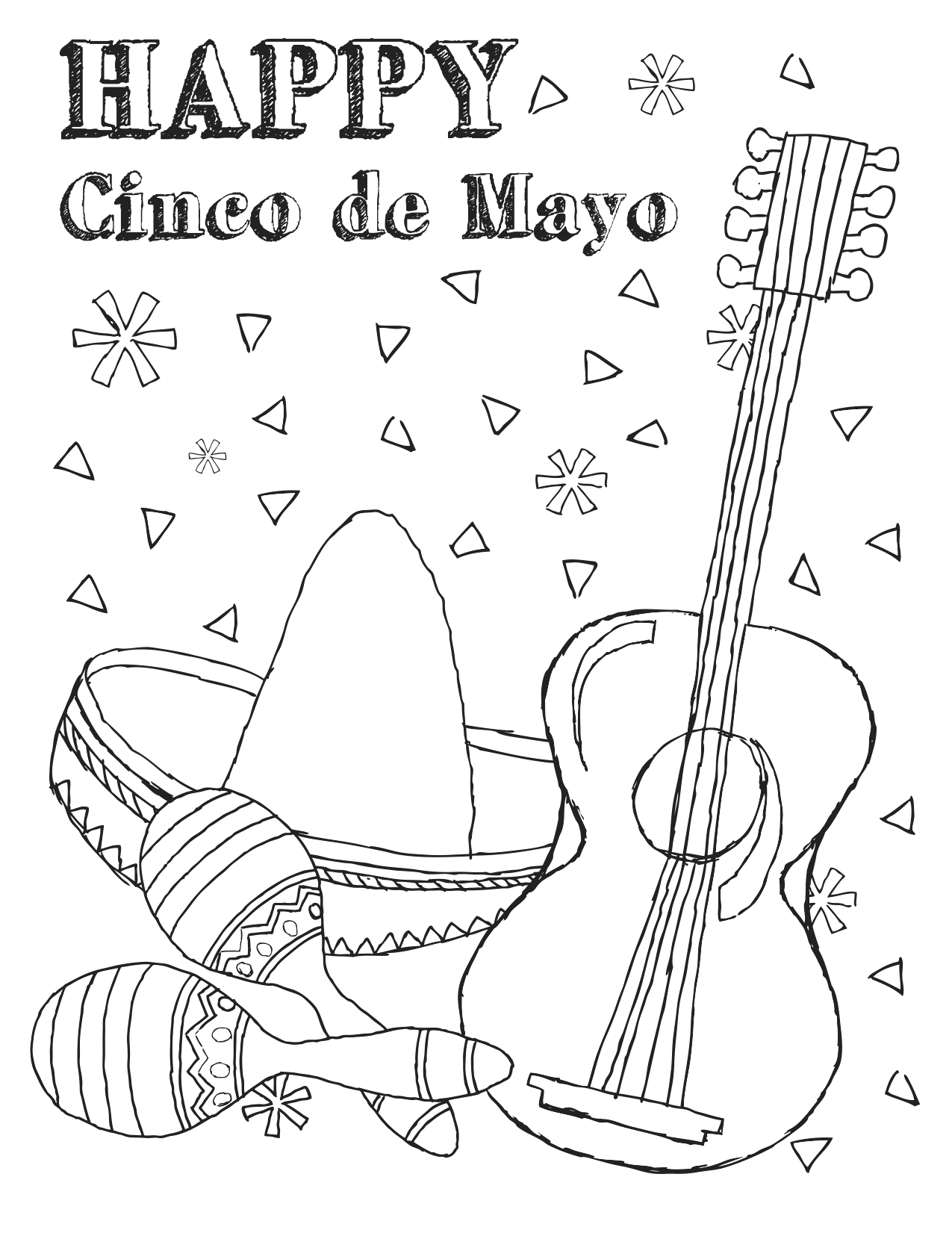 Free Cinco De Mayo Coloring Pages to Print Free Printable Cinco De Mayo Coloring Pages for Kids