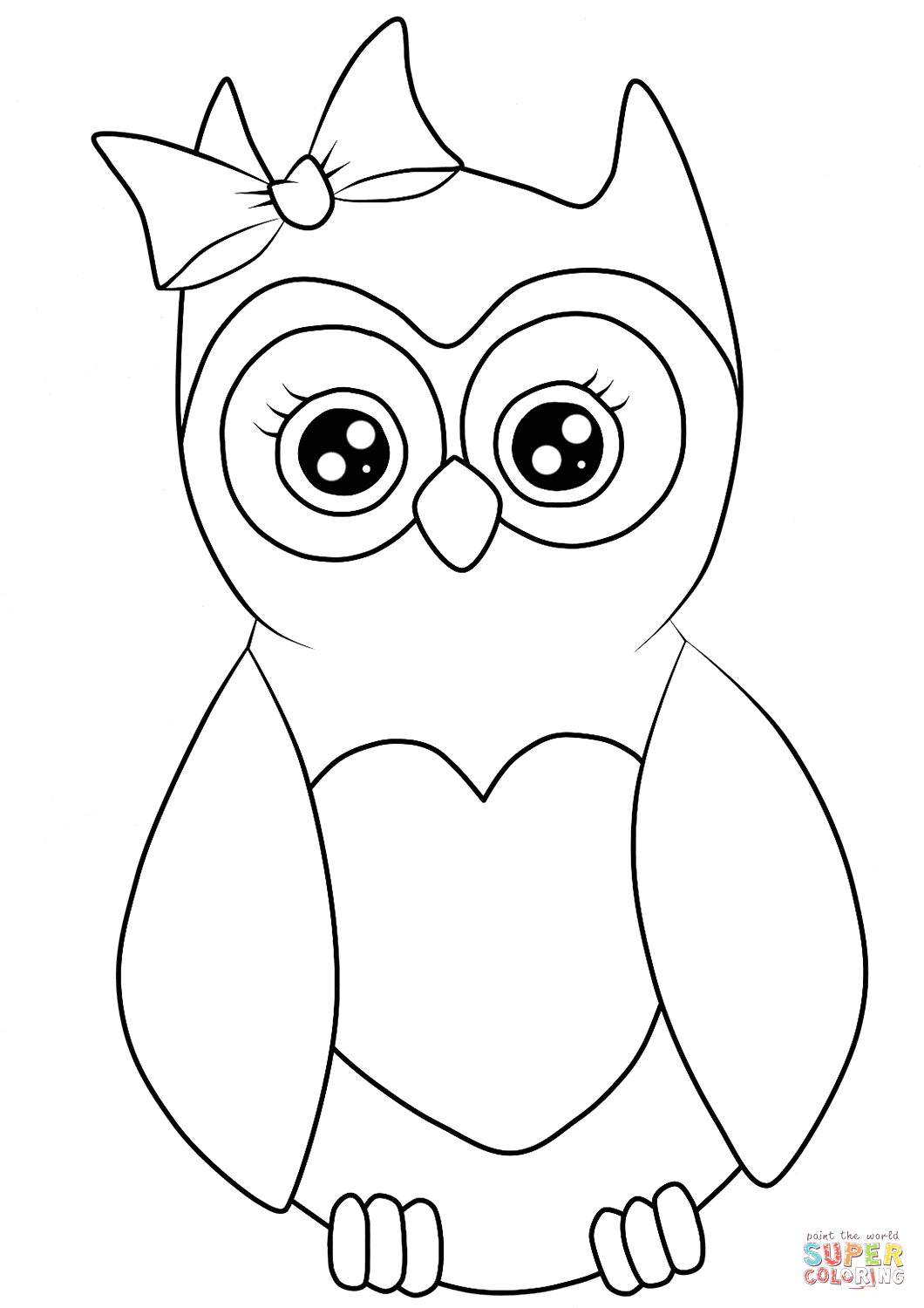 Free Cute Owl Coloring Pages to Print Cutest Cartoon Owl Coloring Page