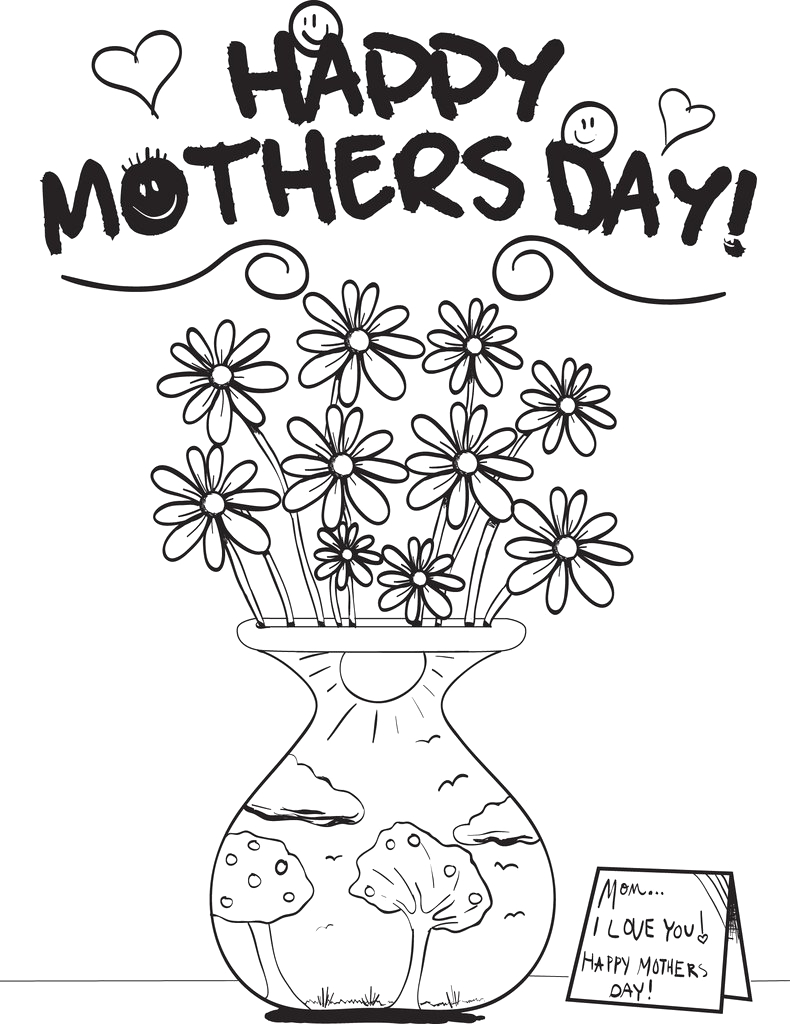 flowers in a vase mothers day coloring page a4167