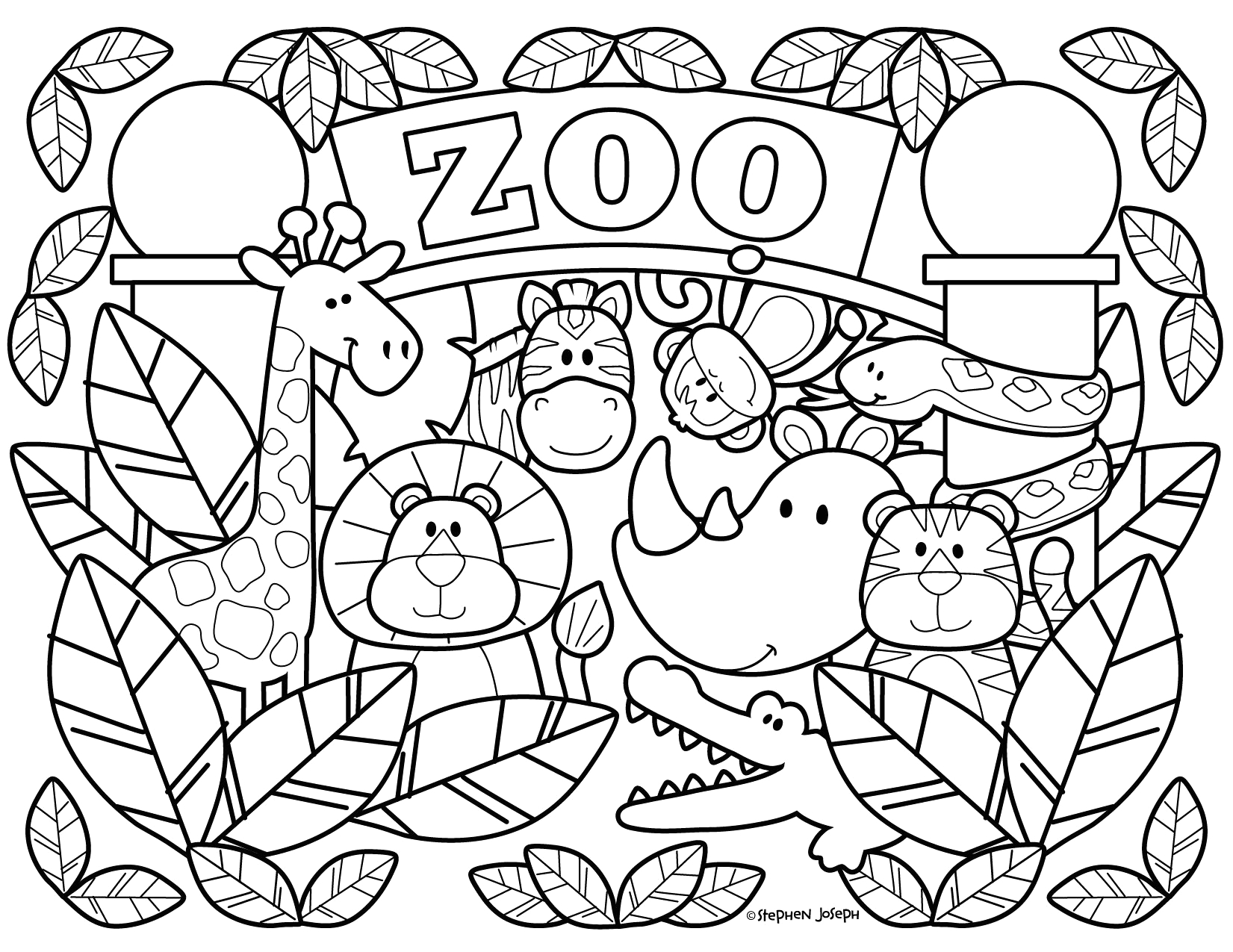 Free Preschool Coloring Pages Of Zoo Animals Zoo Coloring Pages Printable & Free by Stephen Joseph