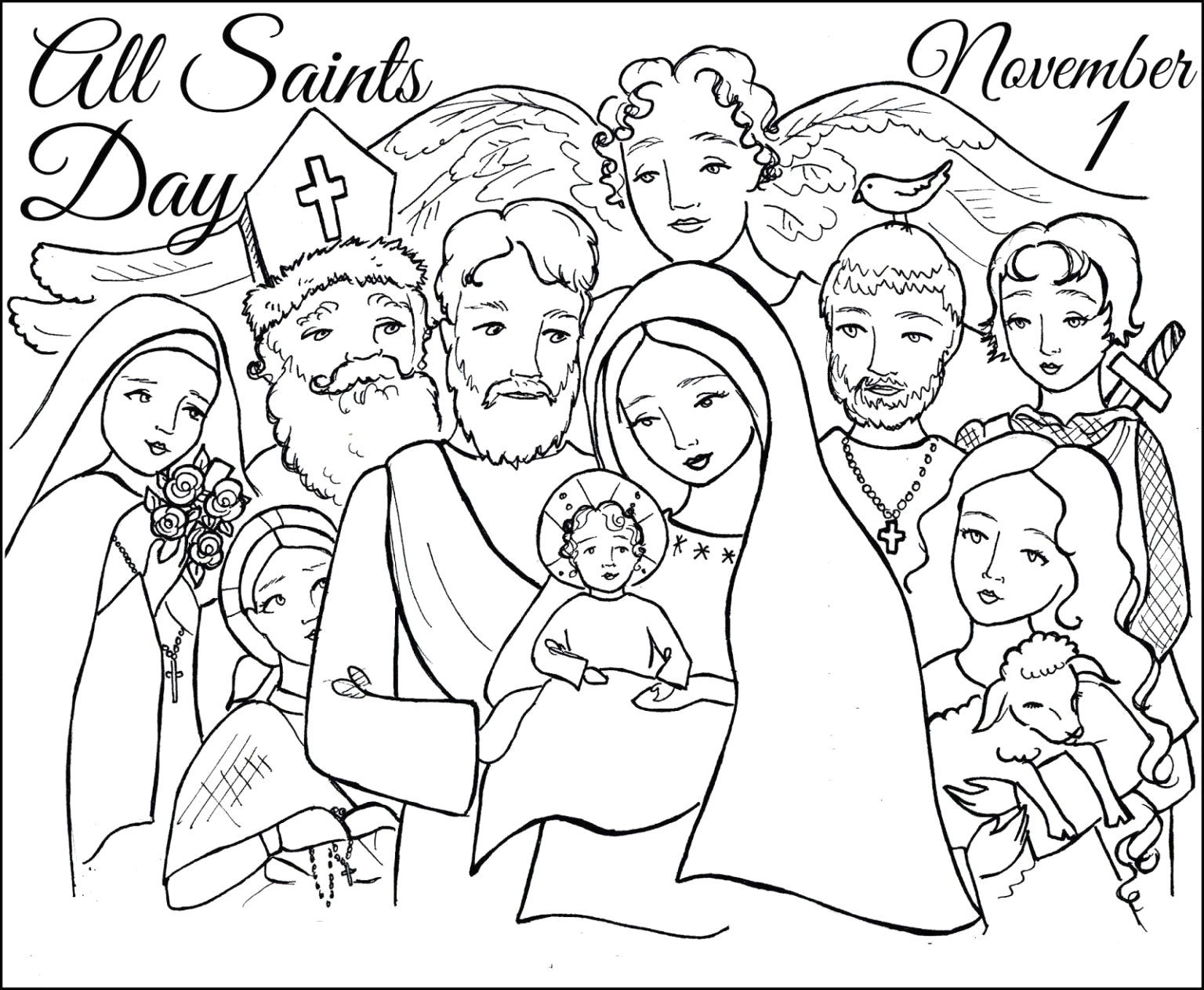 Free Printable All Saints Day Coloring Pages All Saints Day Coloring Page