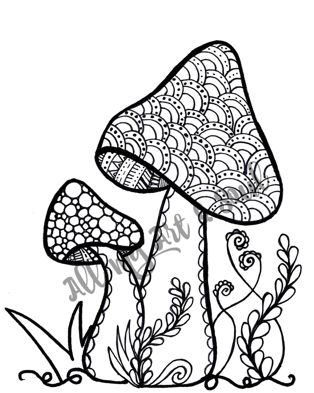 adult coloring page mushroom instant