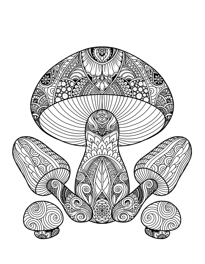 mushrooms doodle art adult coloring page