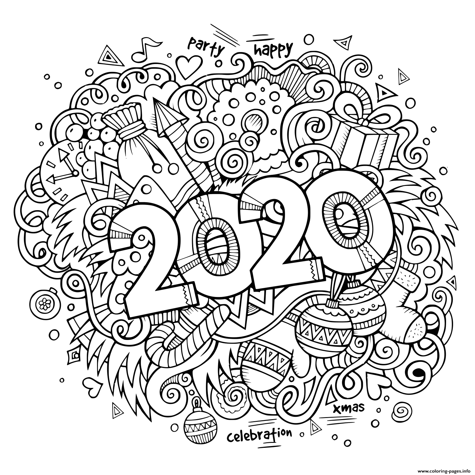 Free Printable New Years Coloring Pages 2020 New Year 2020 Doodles Objects and Elements Poster Design