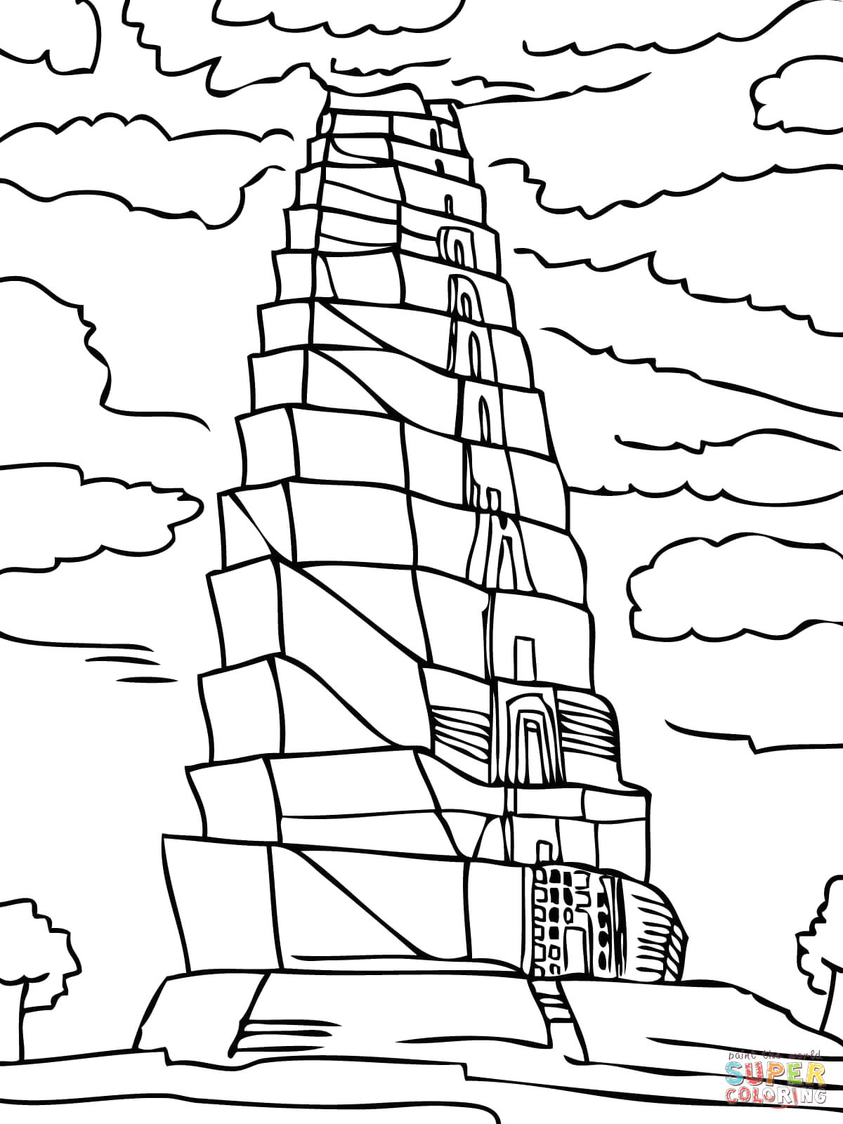 Free Printable tower Of Babel Coloring Pages tower Babel Coloring Pages Coloring Home