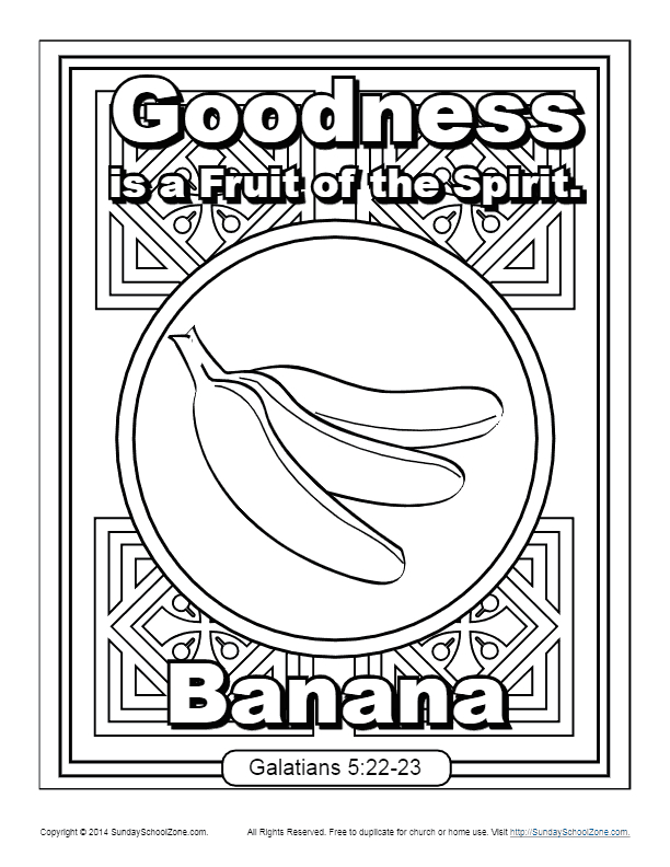 Fruit Of the Spirit Goodness Coloring Page Fruit Of the Spirit for Kids
