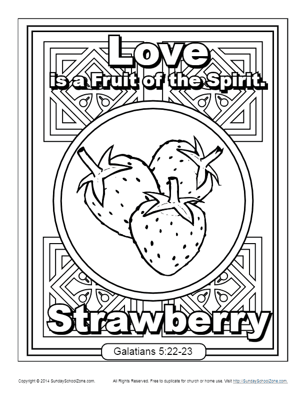 Fruit Of the Spirit Love Coloring Page Fruit Of the Spirit for Kids Love Coloring Page