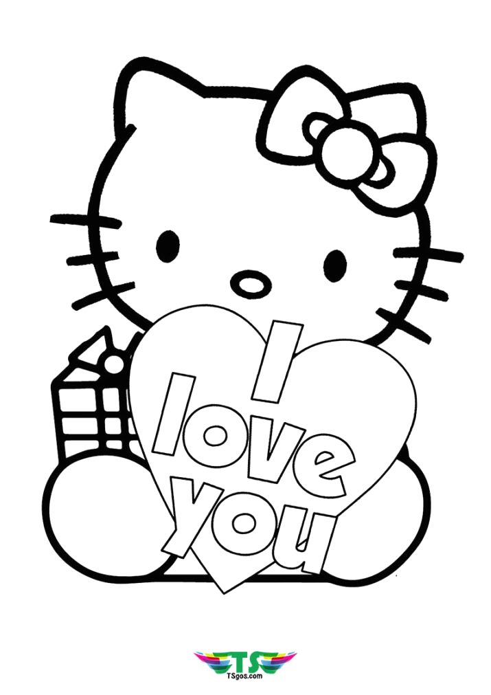 I Love You Hello Kitty Coloring Pages I Love U Hello Kitty Coloring Page Tsgos