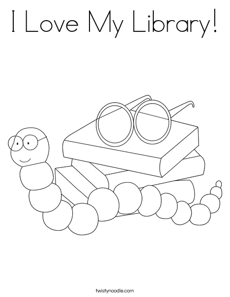 I took My Frog to the Library Coloring Page I Love My Library Coloring Page From Twistynoodle