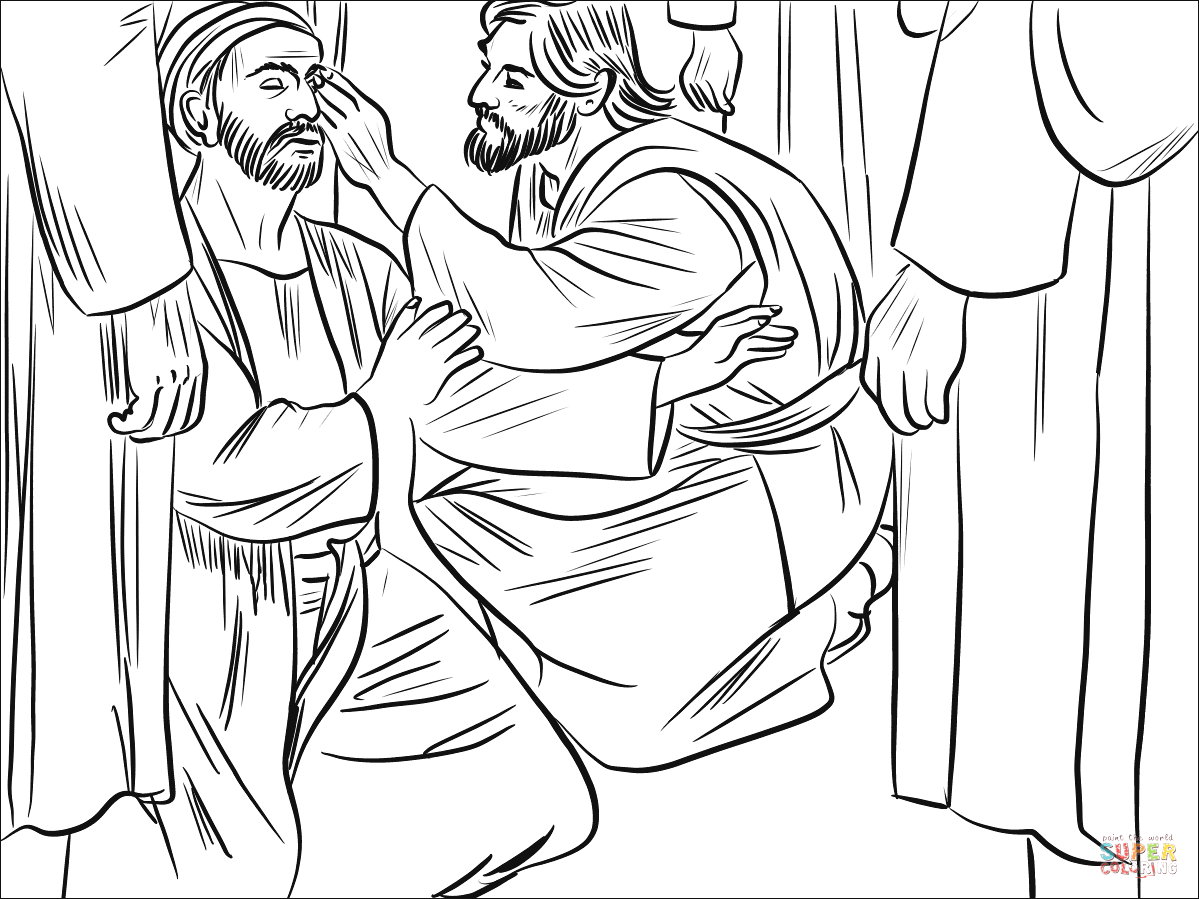 Jesus Heals the Man Born Blind Coloring Page Jesus Heals A Man Born Blind Coloring Page