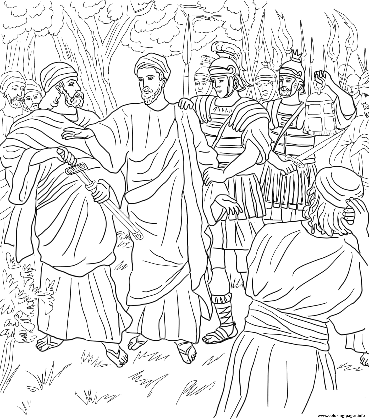 good friday 4 jesus arrested in the garden of hsemane printable coloring pages book