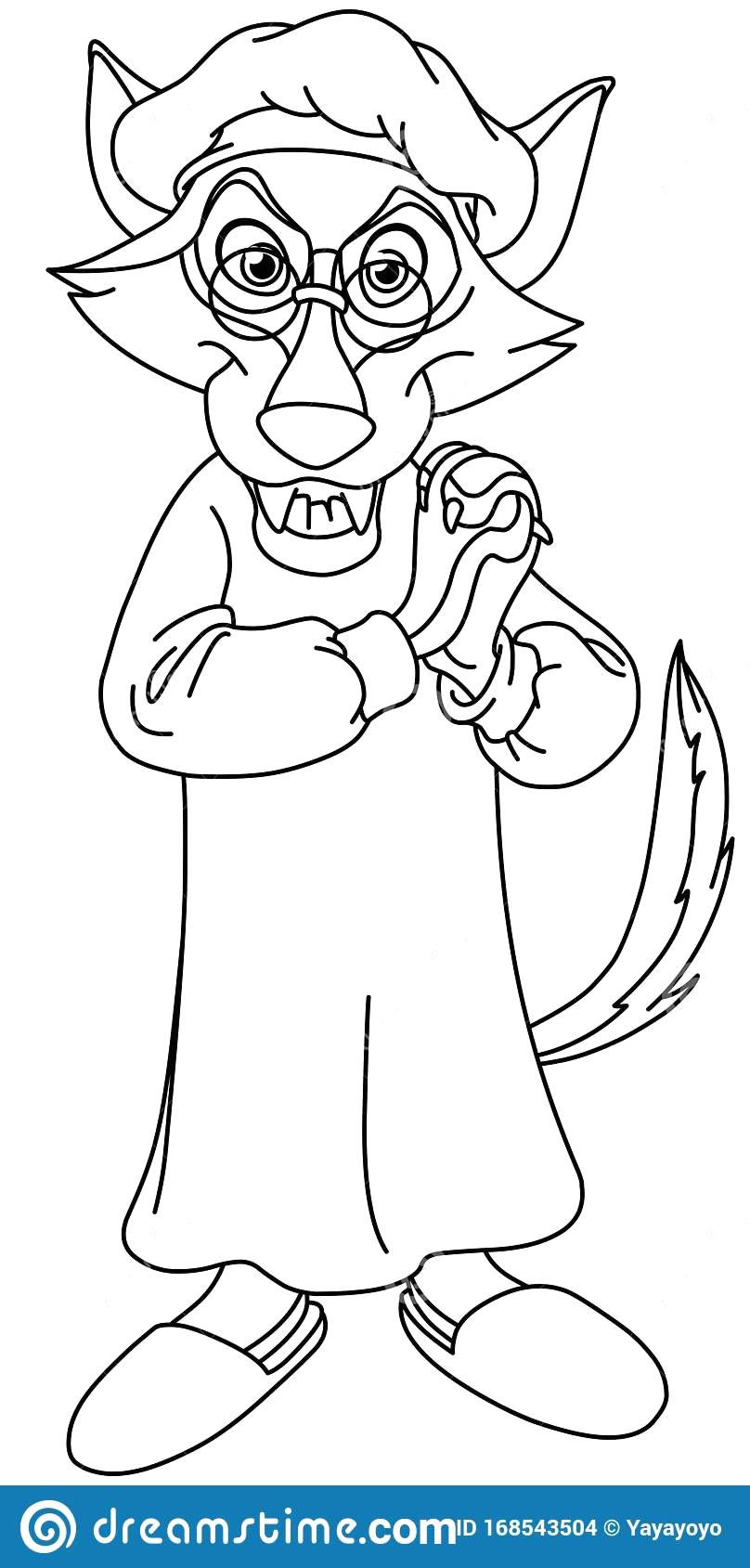 Little Red Riding Hood Wolf Coloring Pages Outlined Little Red Riding Hood Wolf Stock Vector