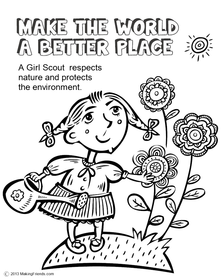 Make the World A Better Place Daisy Petal Coloring Page Scout Leader 411 Blog