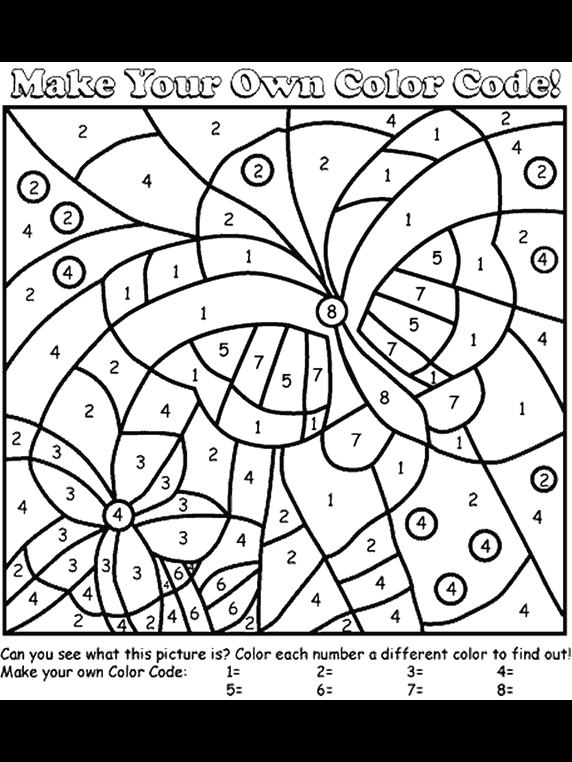 Make Your Own Color by Number Pages butterfly Color by Number Coloring Page