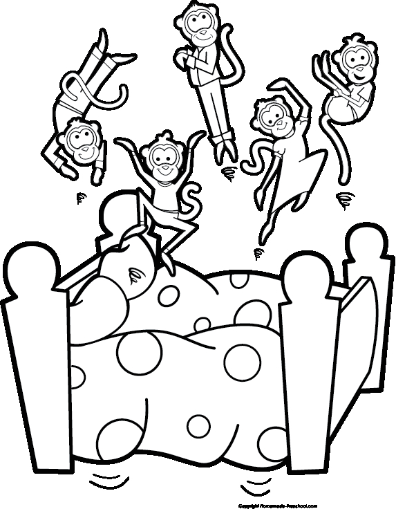 coloring pages monkeys jumping bed