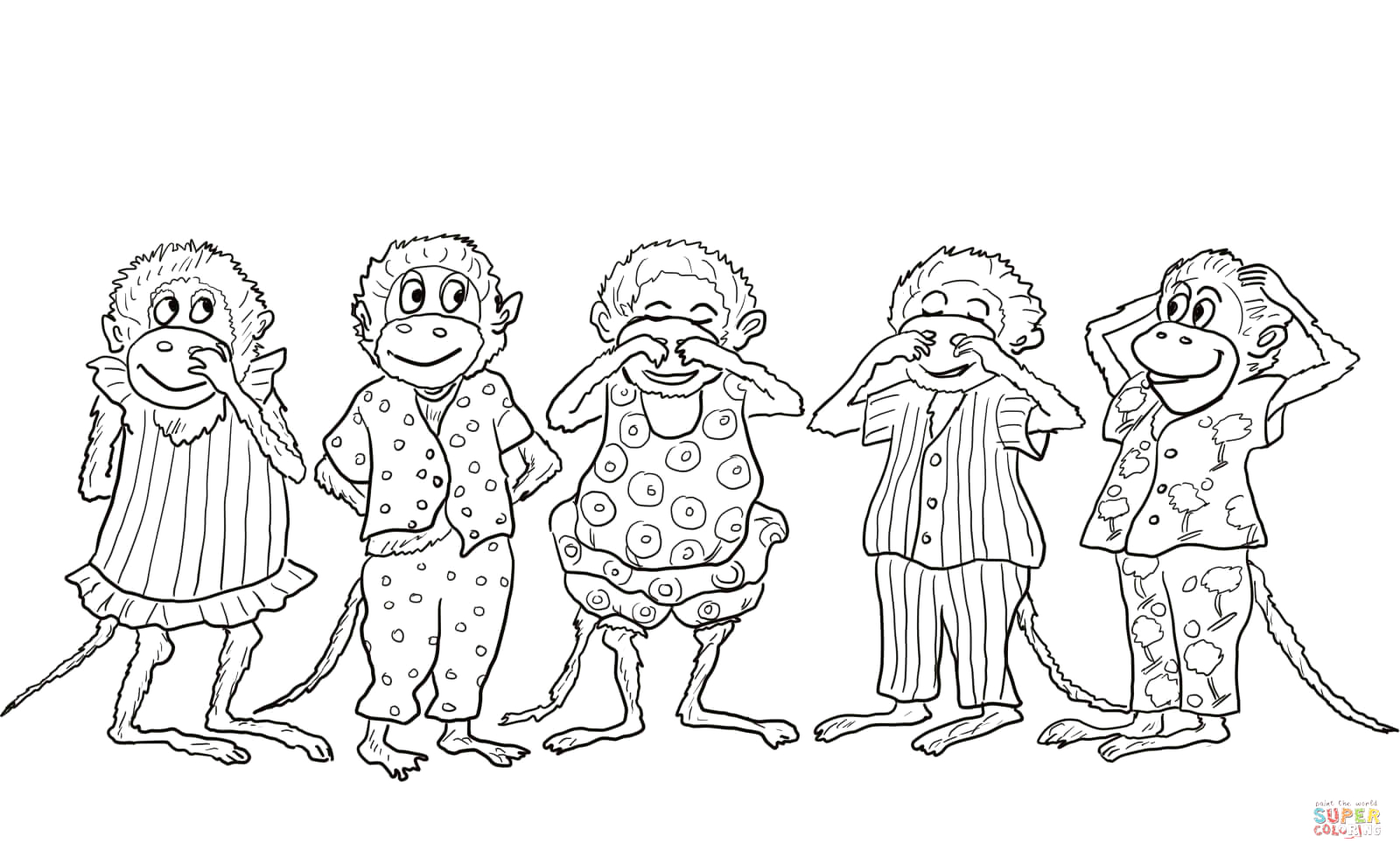 Monkeys Jumping On the Bed Coloring Pages Five Little Monkeys Jumping On the Bed Coloring Page