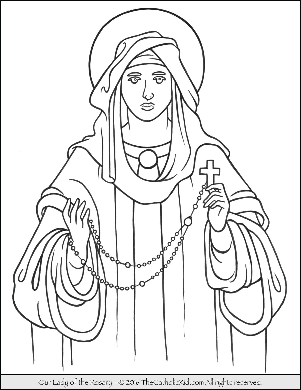 Our Lady Of the Rosary Coloring Page Our Lady Of the Rosary Coloring Page thecatholickid