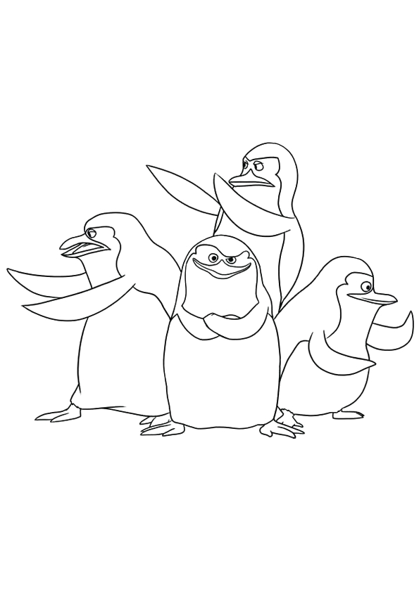 Madagascar Penguins Coloring Page