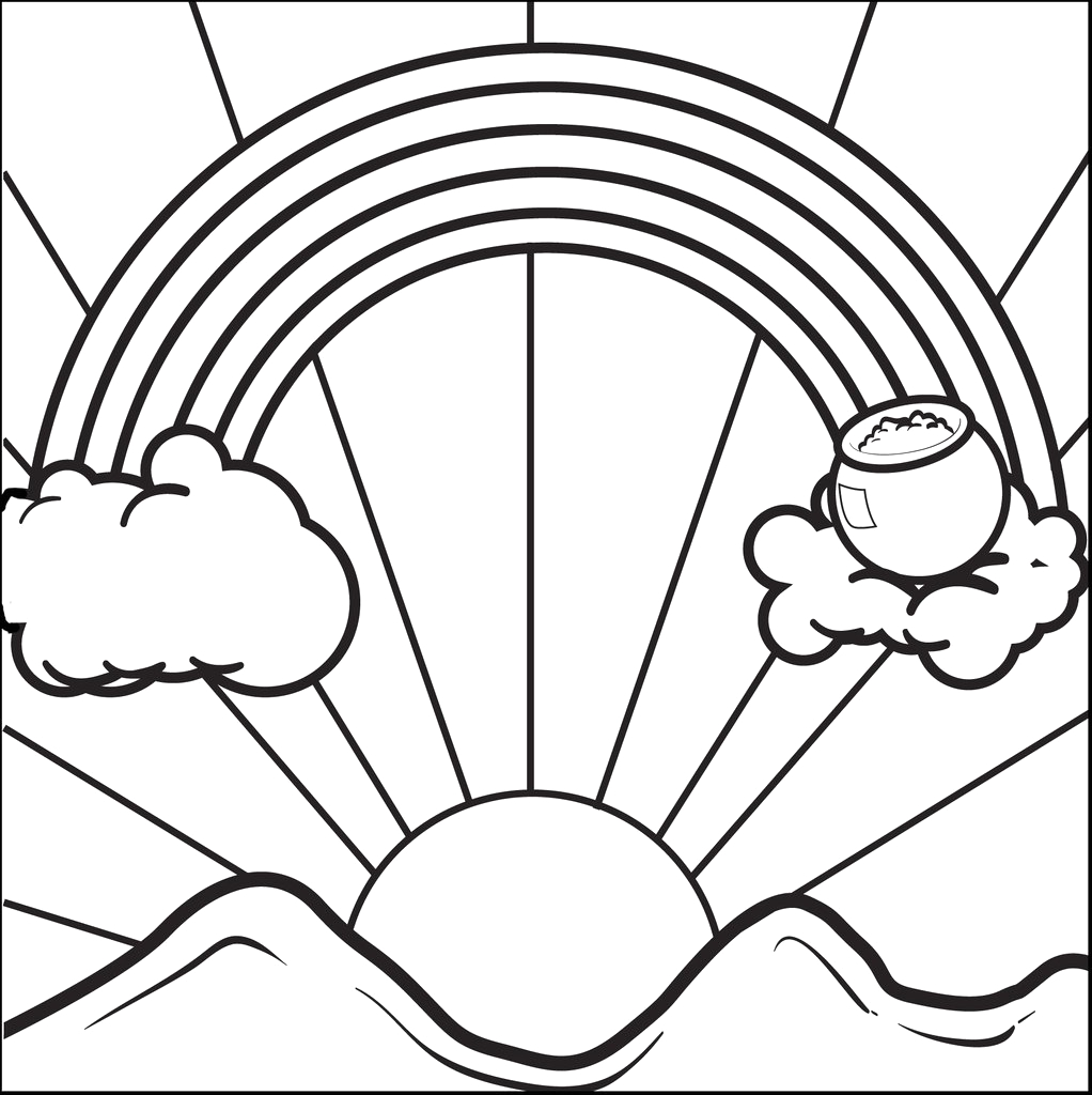 Rainbow and Pot Of Gold Printable Coloring Pages Printable Rainbow with A Pot Of Gold Coloring Page for