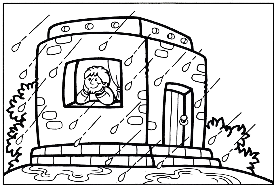 Wise Man Built His House On the Rock Coloring Page Wise Man Built His House Upon the Rock