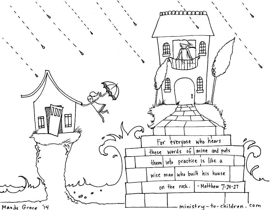 Wise Man Built His House Upon the Rock Coloring Page Wise Man Built His House Upon the Rock Matthew 7 24