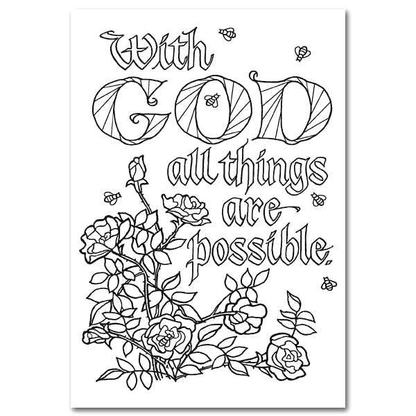 With God All Things are Possible Coloring Page with God All Things are Possible Oversized Coloring Post Card