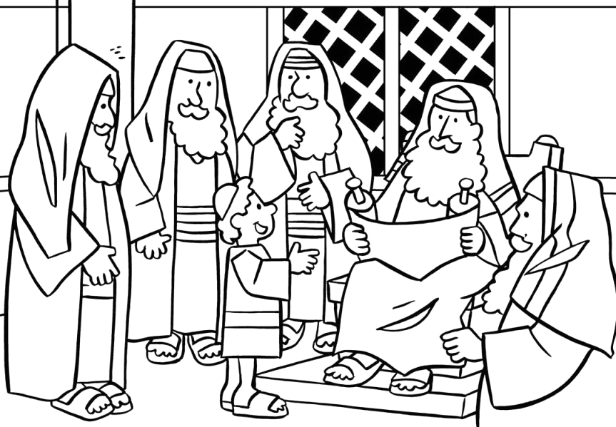 Young Jesus In the Temple Coloring Page Jesus In the Temple Coloring Page